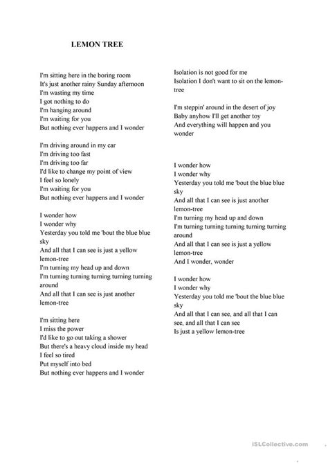 lemon tree testo lemon tree lyrics worksheet free esl printable