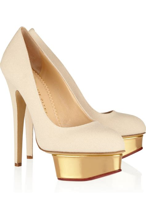 Olympia Platfrom High Heels olympia the dolly canvas and leather platform pumps in beige sand lyst