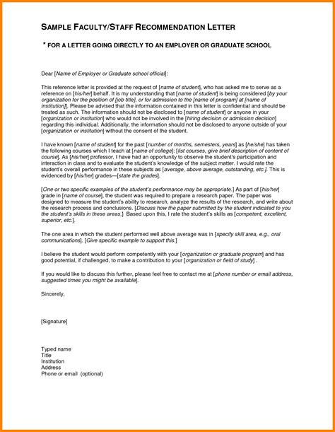 School Letter Of Recommendation From Employer