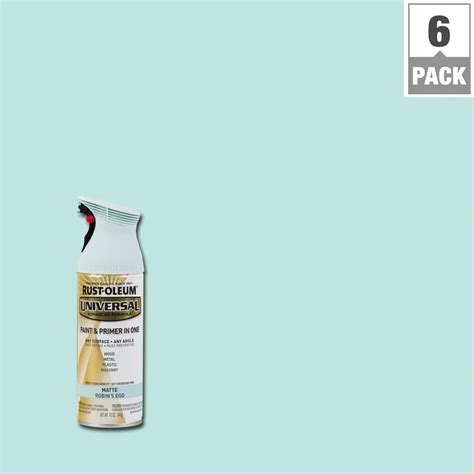 rust oleum universal 12 oz all surface matte robin s egg spray paint and primer in one 6 pack