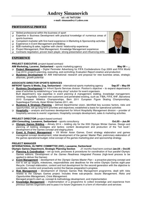 business management resume sles sports management resume printable planner template