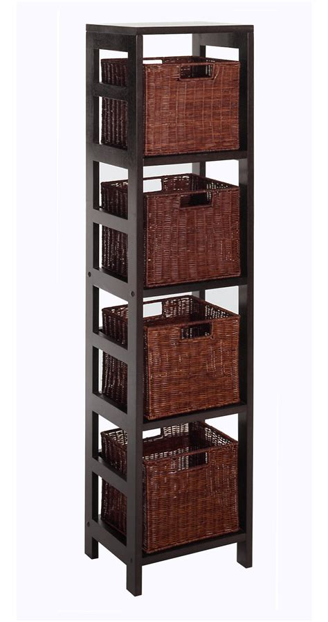 Small Storage Shelves Winsome Leo 5pc Storage Shelf With Basket Set Shelf With