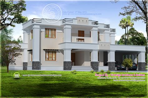 kerala home design flat roof elevation kerala house with flat roof and open terrace