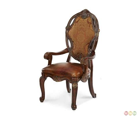 leather and fabric armchair michael amini essex manor traditional set of 2 leather fabric arm chairs by aico