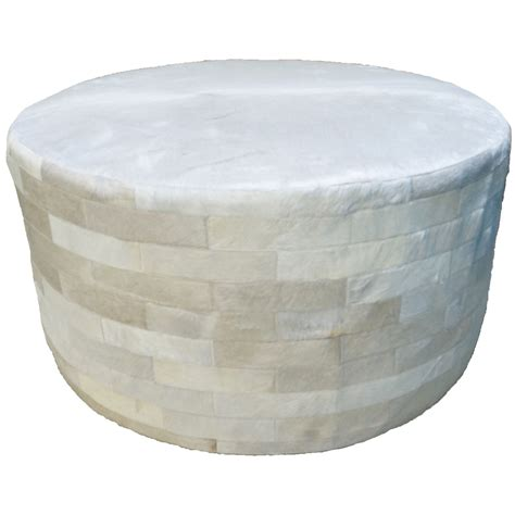 36 round ottoman white round cowhide ottoman 36 inch