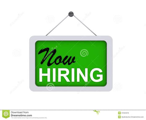 Free Is Hiring by Now Hiring Sign Stock Illustration Illustration Of White