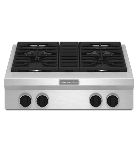 Commercial Cooktops 30 inch 4 burner gas rangetop commercial style kgcu407vss stainless steel