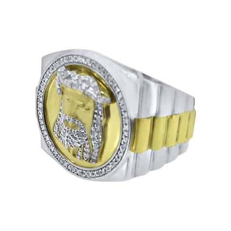 gold jesus 2 tone real ring 925 silver 925
