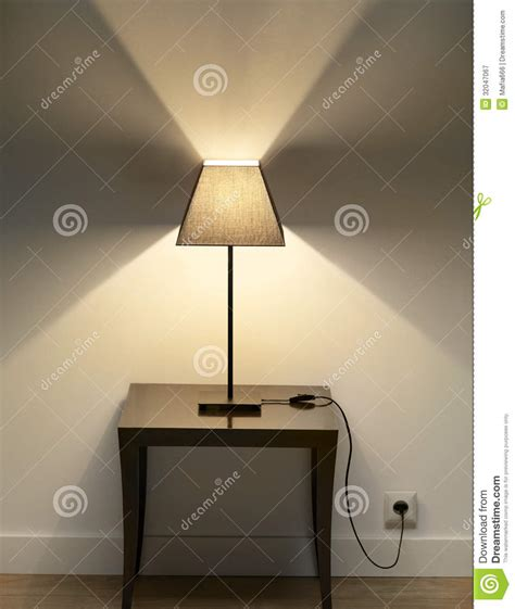 small desk l with shade l with small table stock image image of light