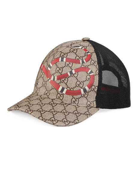 gucci snake print gg supreme baseball hat brown