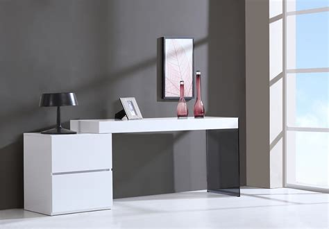 Office Modern Desk Contemporary Two Drawer White High Gloss Office Desk With Glass Leg Kansas Missouri J M