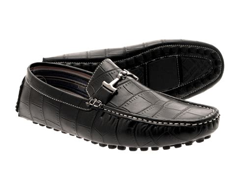 mens moccasin mule loafers shoes faux leather