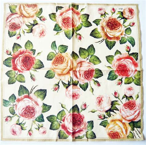 Decoupage Napkin - decoupage paper napkins of roses on gold chiarotino