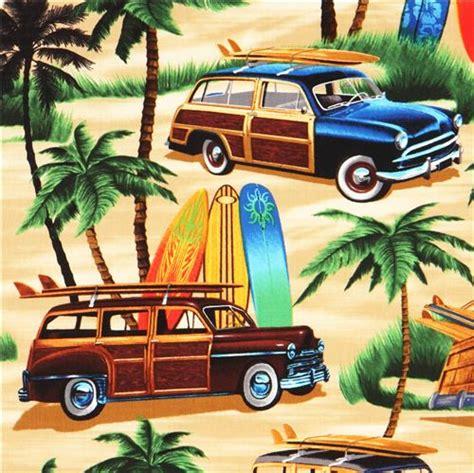 imagenes surf vintage beige beach palm surfing retro fabric timeless treasures