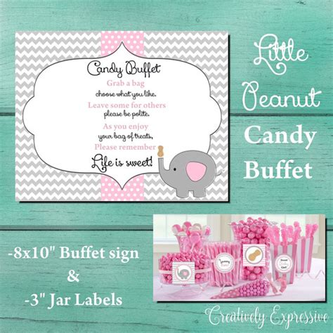 Gray And Pink Chevron Baby Shower Candy Buffet Sign Little Baby Shower Buffet Sign