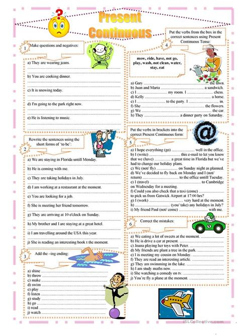 printable worksheets present continuous tense present continuous exercises worksheet free esl