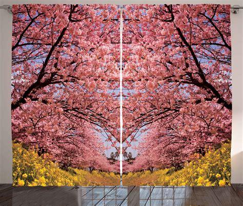 japanese decor curtains 2 panels set cherry blossom home cherry blossom sakura japanese nature zen floral home