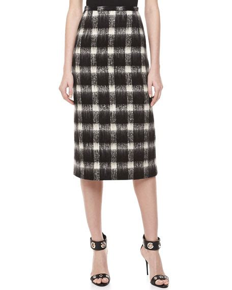 michael kors brushed check pencil skirt black ivory