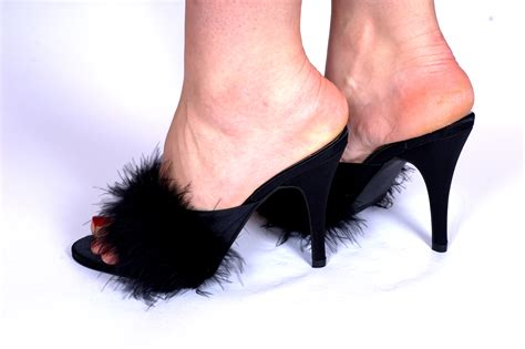 slippers with a heel black 4 5 quot high heel satin feather fluffy slippers court