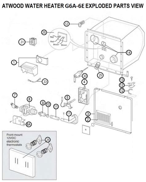 atwood water heater parts diagram atwood water heater model g6a 6e tune up kit pdxrvwholesale