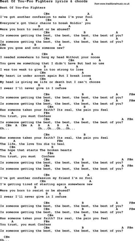 foo fighters best of you tab 1023 best chords lyrics how to play images on