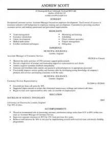 Service Assistant Sle Resume by Assistant Manager Cv Exle For Customer Service Livecareer