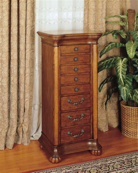 jewlry armoire powell wilmington cherry and burl jewelry armoire 519 314