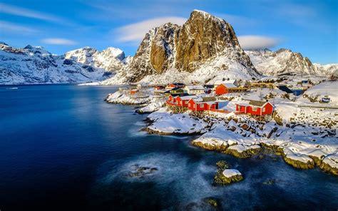 winter landscape norway lofoten islands  snow cover