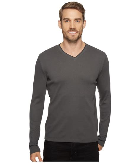 Tshirt Kaos Longsleeve Ck Calvin Klein Sleeve Rib V Neck T Shirt In Gray For