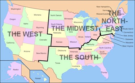 map of usa showing its states image map of usa showing regions png familypedia