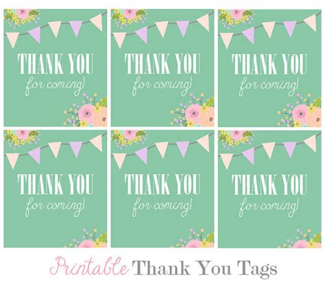 thank you for coming to my template favor tags digital floral teal bunting thank you tags for
