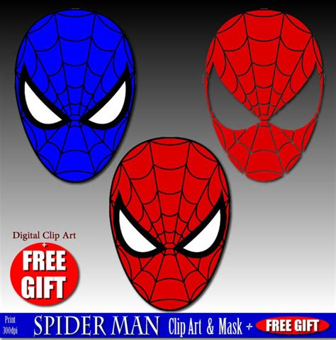 printable mask of spiderman digital clip art spiderman mask superhero party masks