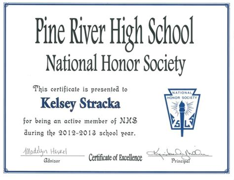 Acceptance Letter For National Honor Society Artifacts Kelsey Jo Stracka