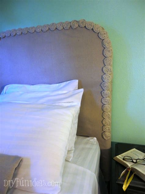 headboards to cover yourself easy no sew diy drop cloth rosette headboard slipcover
