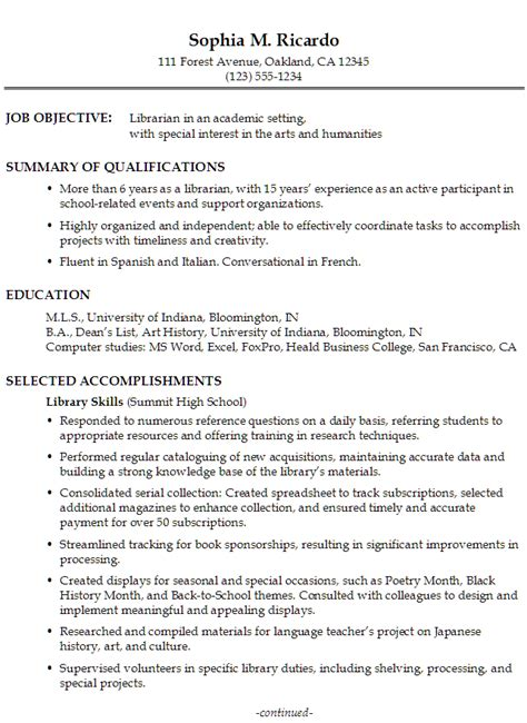 librarian resume template functional resume exle librarian in an academic setting