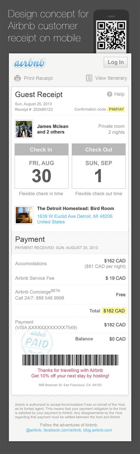 airbnb receipt airbnb email receipt redesign for mobile on behance