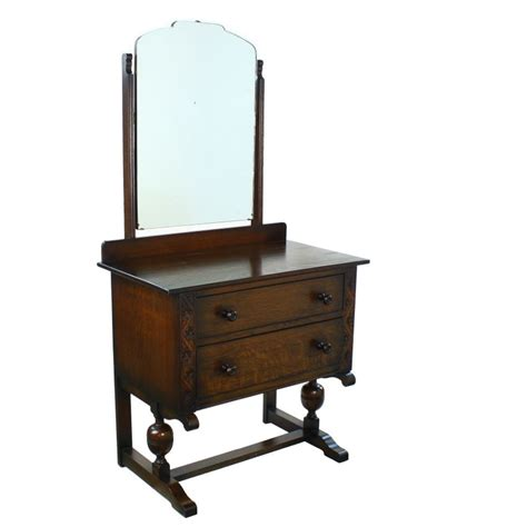 Oak Vanity Table With Drawers Deco Period Solid Oak Two Drawer Dressing Vanity Table Mirror Ebay