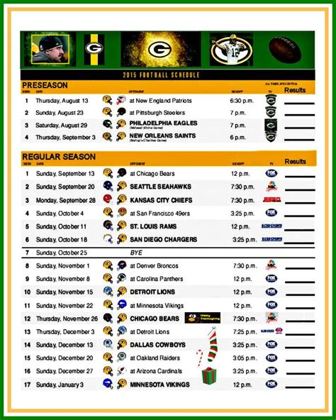 printable packers schedule packer s 2015 schedule green bay packers pinterest