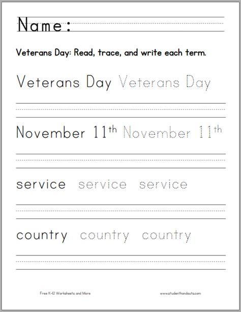 printable worksheets veterans day handwriting worksheets kindergarten printable