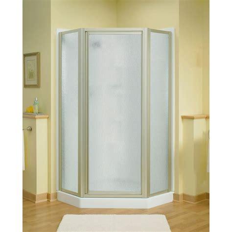Shower Door Stores Sterling Intrigue 27 9 16 In X 72 In Neo Angle Shower Door In Nickel With Handle Sp2276a 38n