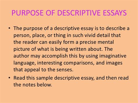 Descriptive Essay On A Person Exle by Descriptive Writing