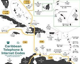 lincmad s caribbean area code time zone map