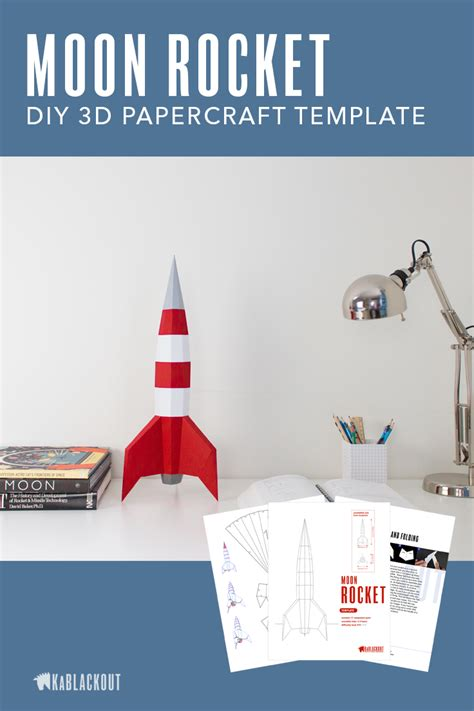 Papercraft Rocket Template Diy Moon Rocket 3d Paper Spaceship Low Poly Spacecraft Retro Sci 3d Rocket Template Printable