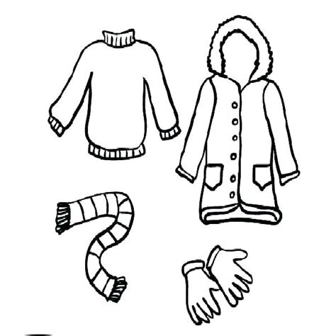 winter clothing coloring pages clothes printable preschool