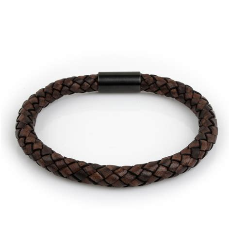 Braided Genuine Leather Bracelet braided leather bracelet brown 8mm black