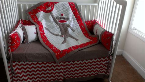 Sock Monkey Red Custom Made Crib Bedding Set For Trac4461 Monkey Crib Bedding