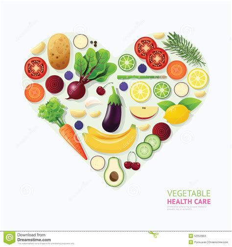 design for health infographic vegetable and fruit food health care heart