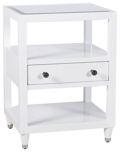 White And Mirrored Nightstand Worlds Away One Drawer Mirrored Top White Lacquer Nightstand Wh Contemporary