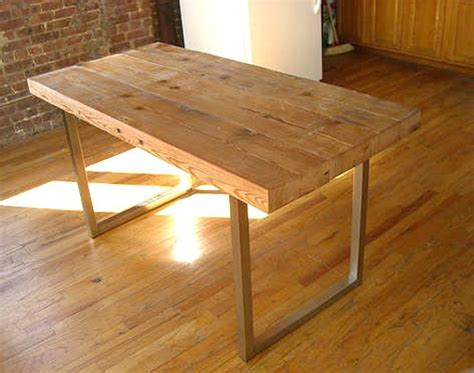 rustic modern desk metal frame wood top table timber