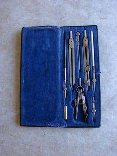 Koper Set 2 In 1 0529 antique drafting kit mechanical drawing tools in velvet